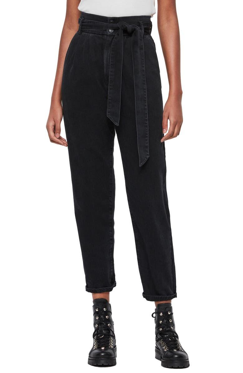 ALLSAINTS Ralita Tie Waist Nonstretch Jeans, Main, color, BLACK