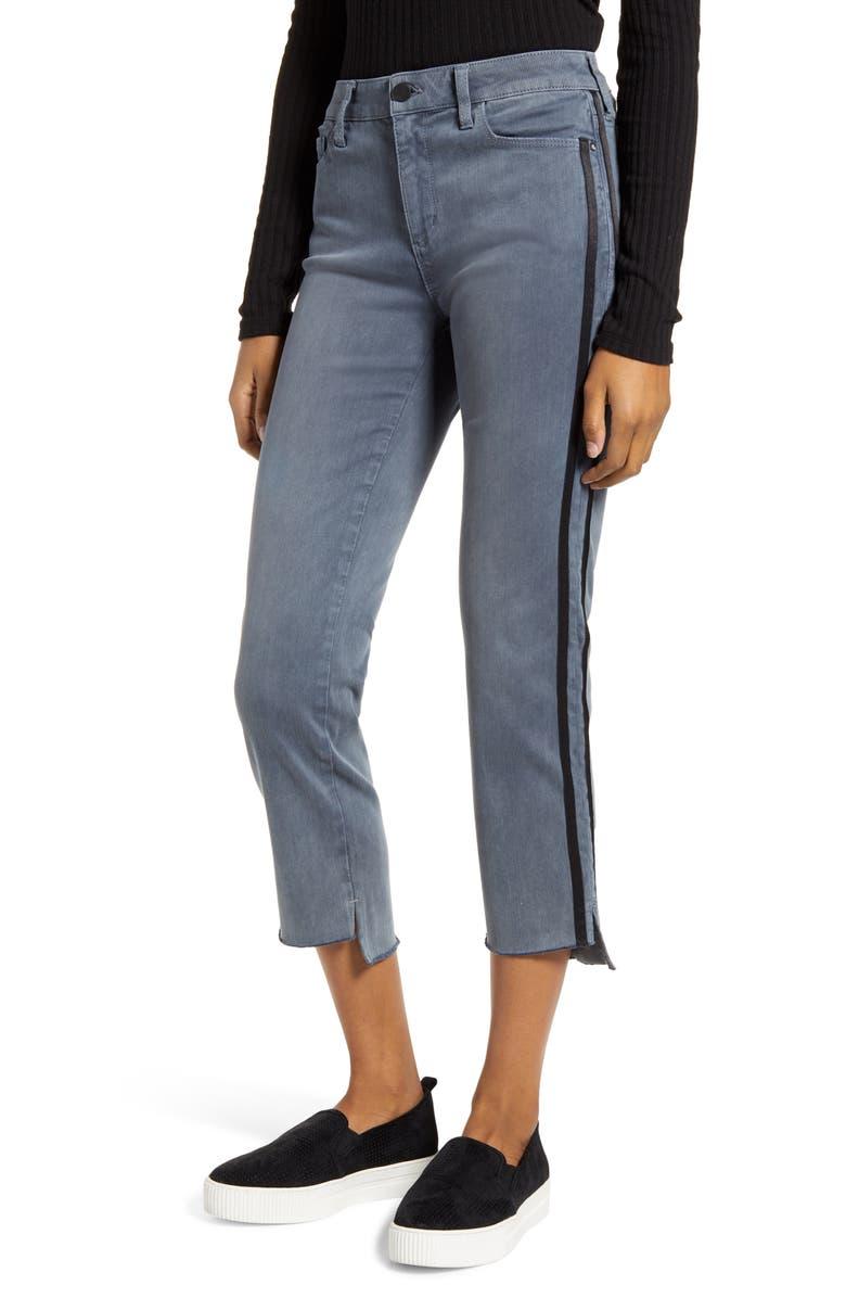 WASH LAB Side Stripe Step Hem Ankle Jeans, Main, color, EARL GREY
