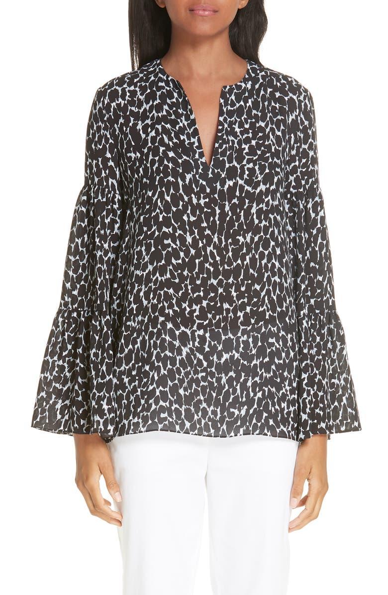 MICHAEL KORS Cheetah Print Bell Sleeve Silk Georgette Blouse, Main, color, 001