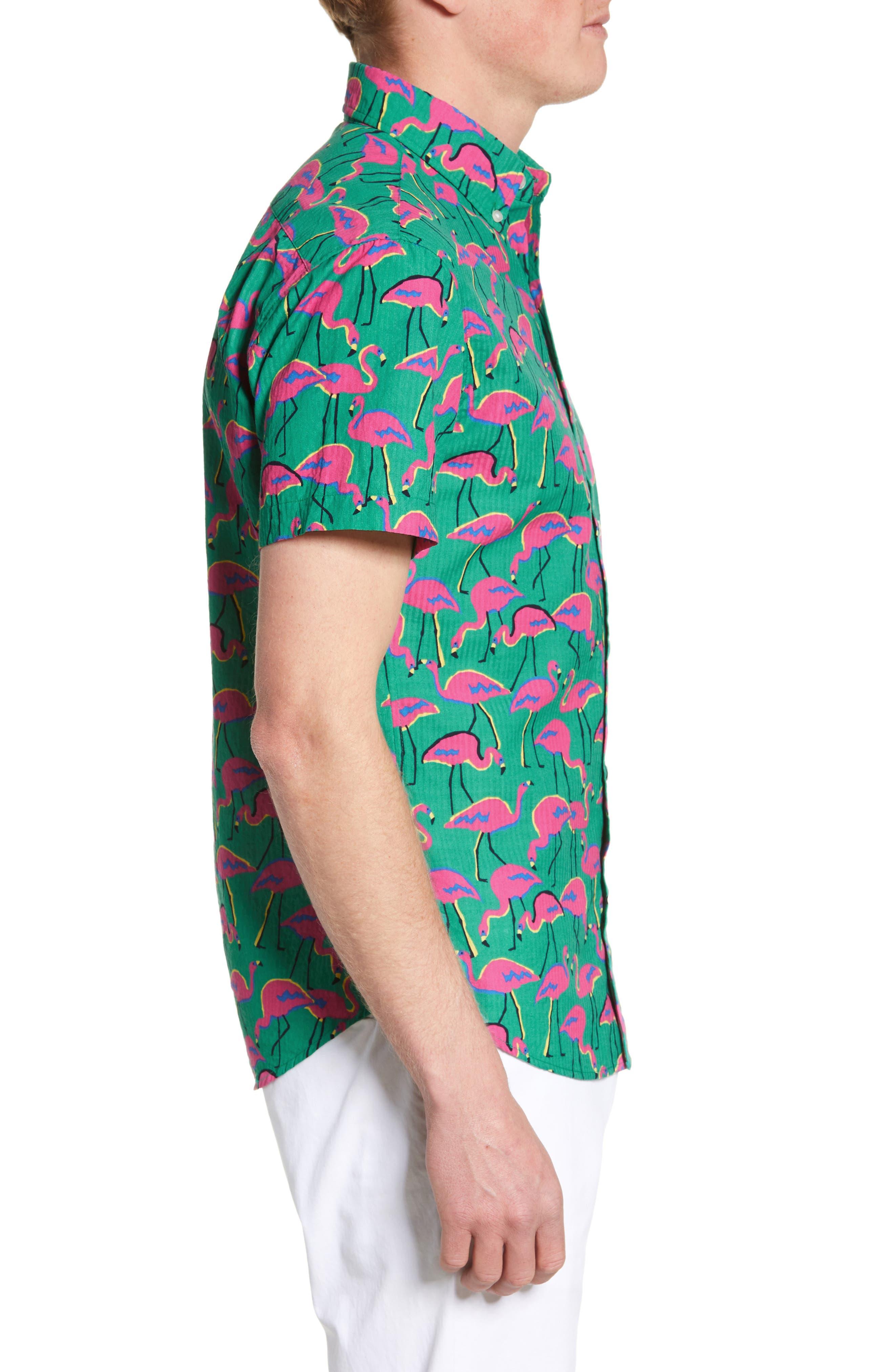 ,                             Riviera Slim Fit Flamingo Print Sport Shirt,                             Alternate thumbnail 4, color,                             LOOK FLAMINGOS