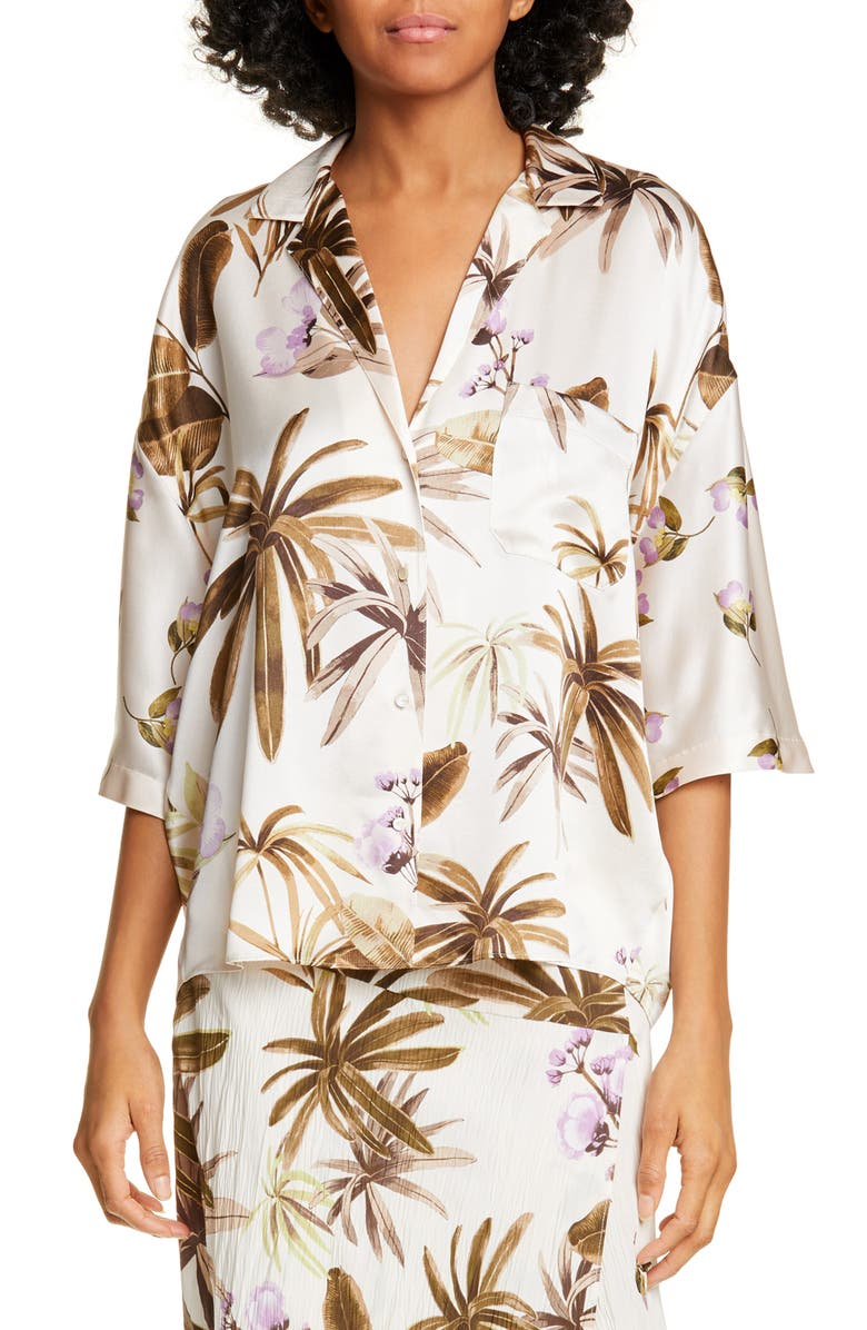 VINCE Mixed Tropical Garden Silk PJ Shirt, Main, color, 282