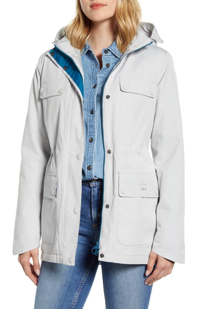 BARBOUR Metric Waterproof Hooded Raincoat, Main, color, ICE WHITE