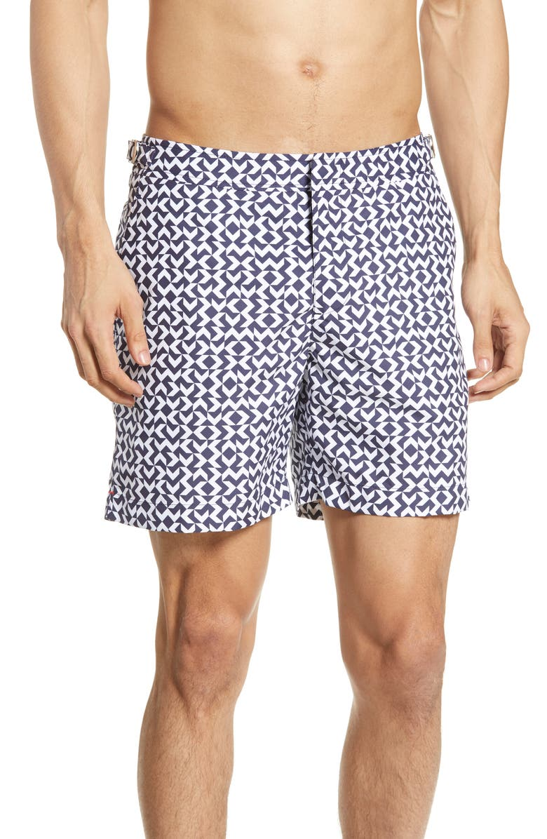 ORLEBAR BROWN Bulldog Frecce Swim Trunks, Main, color, NAVY