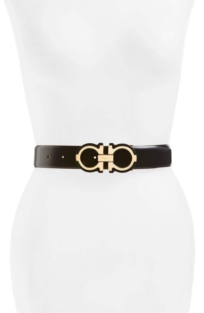SALVATORE FERRAGAMO Gropp Barolo Leather Belt, Main, color, NERO/ ORO