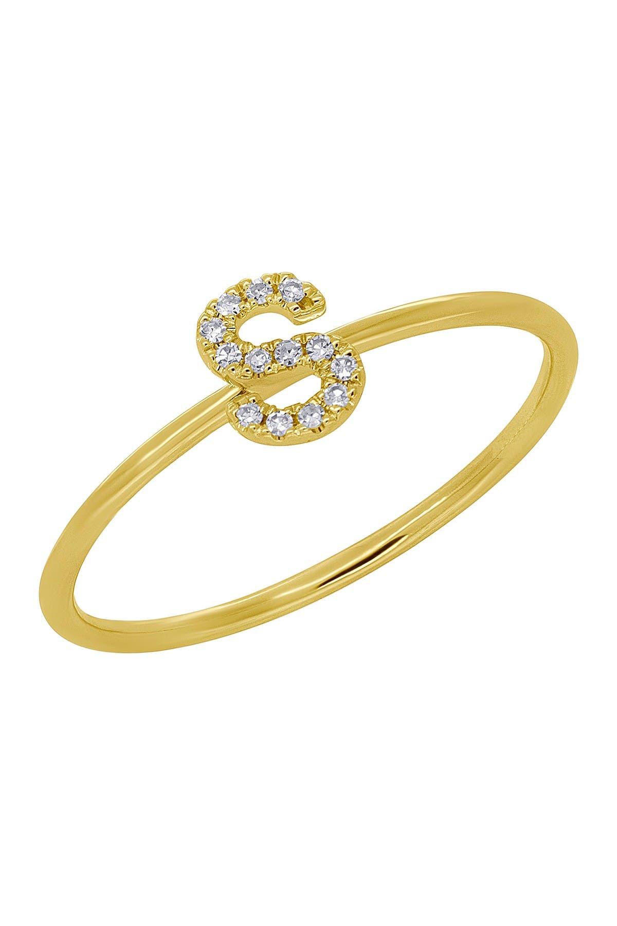 Image of Ron Hami 14K Yellow Gold Diamond Initial Ring - 0.04 ctw