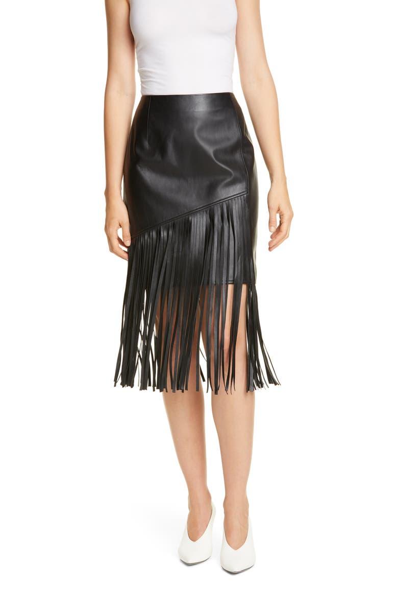 HUGO Lelina Leather Fringe Skirt