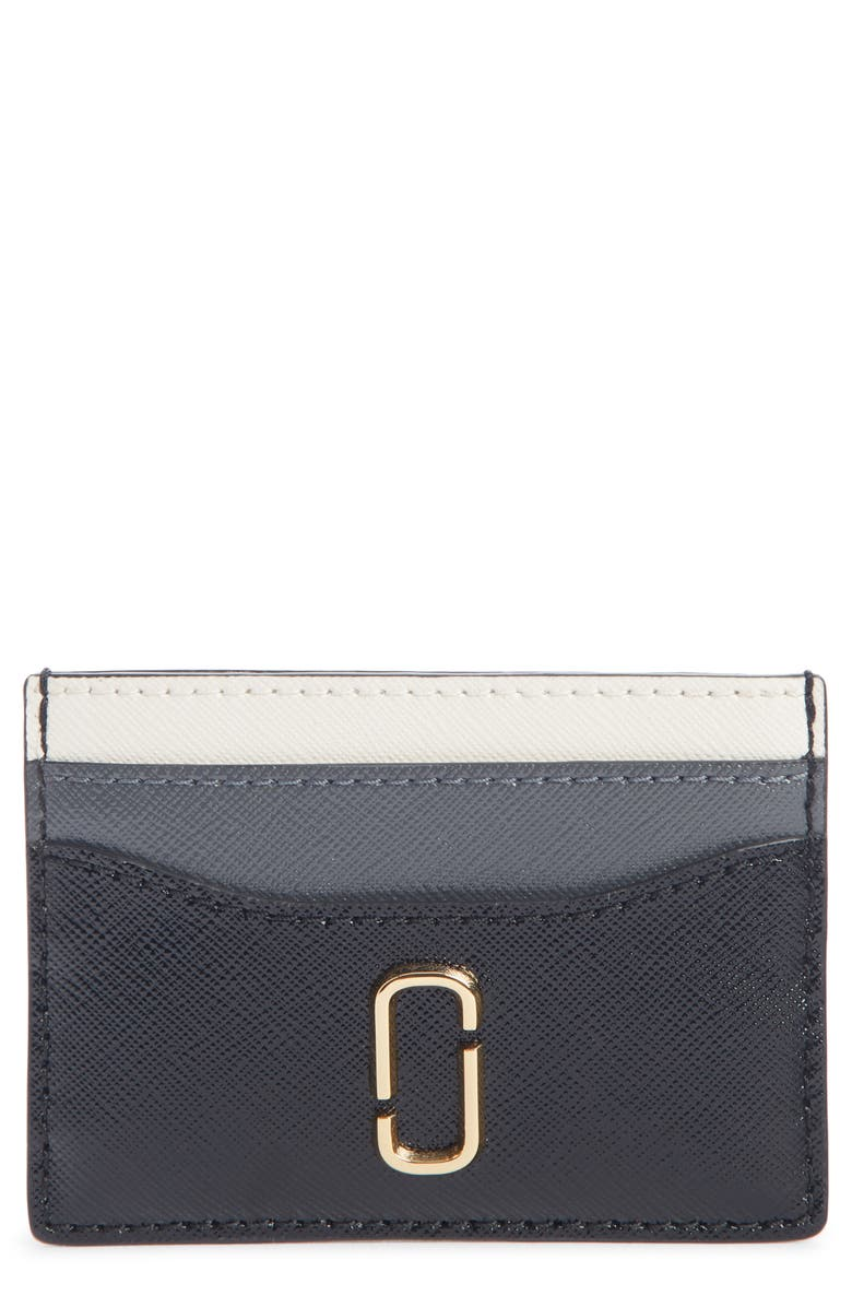 MARC JACOBS Snapshot Saffiano Leather Card Case, Main, color, BLACK MULTI