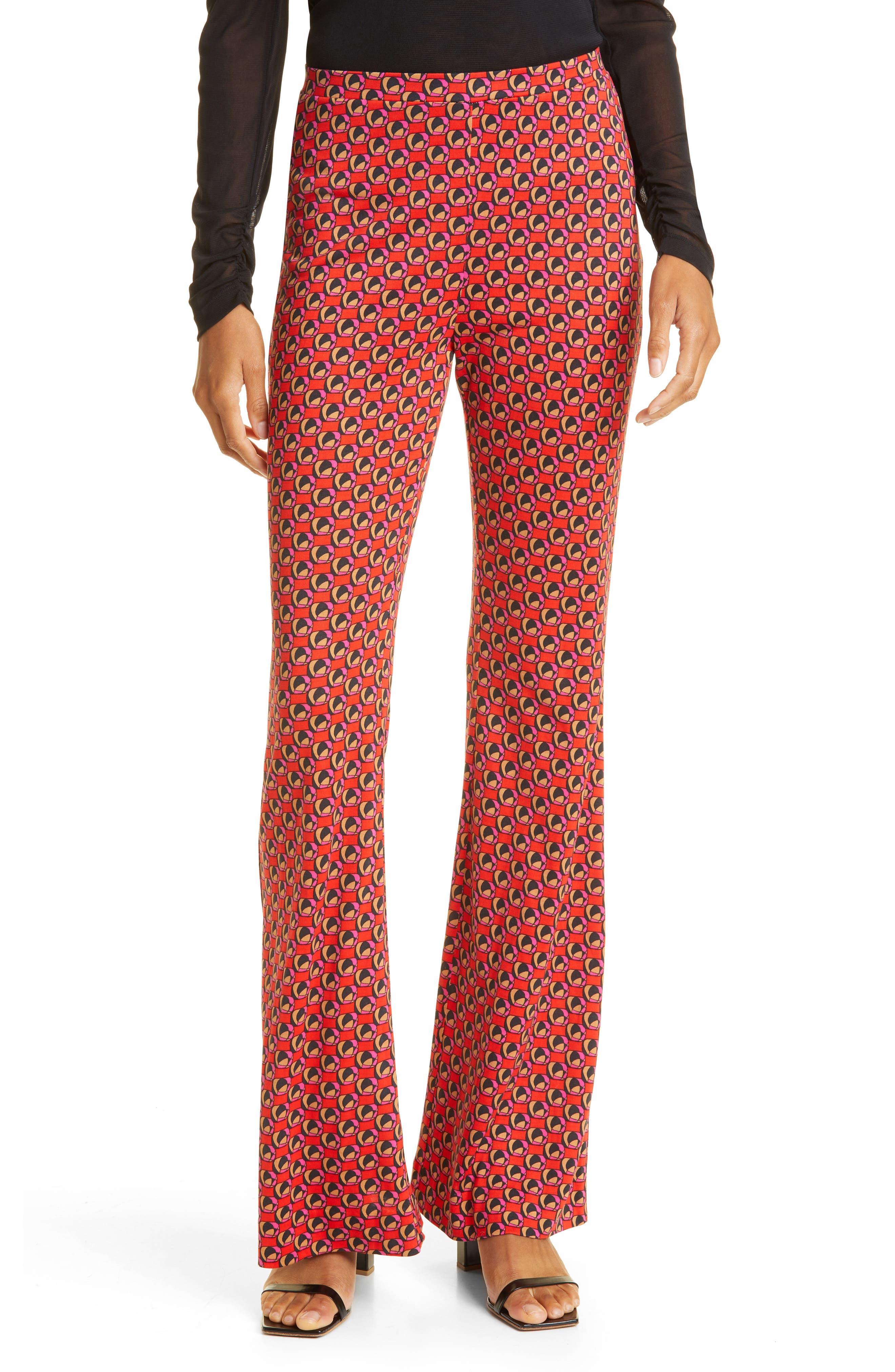 Brooklyn Print Flare Silk & Cotton Pants