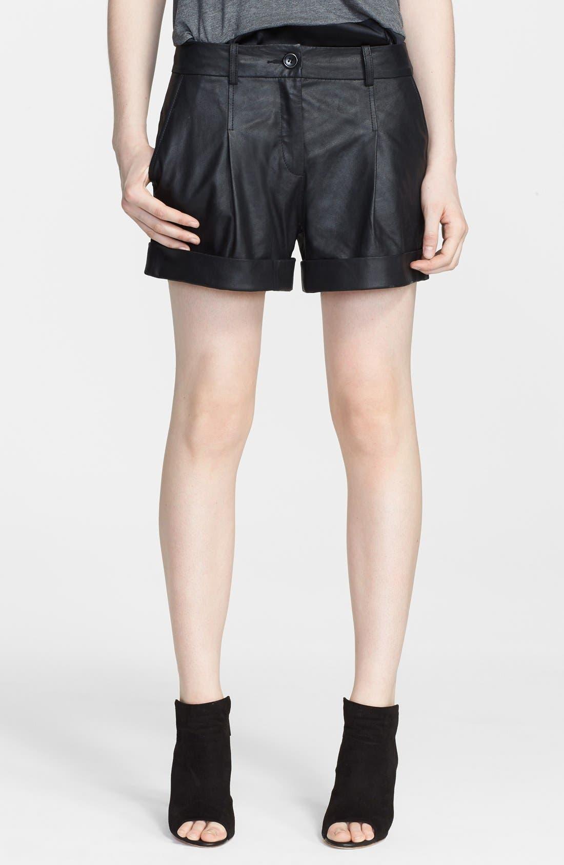 ,                             Leather Moto Shorts,                             Main thumbnail 1, color,                             001