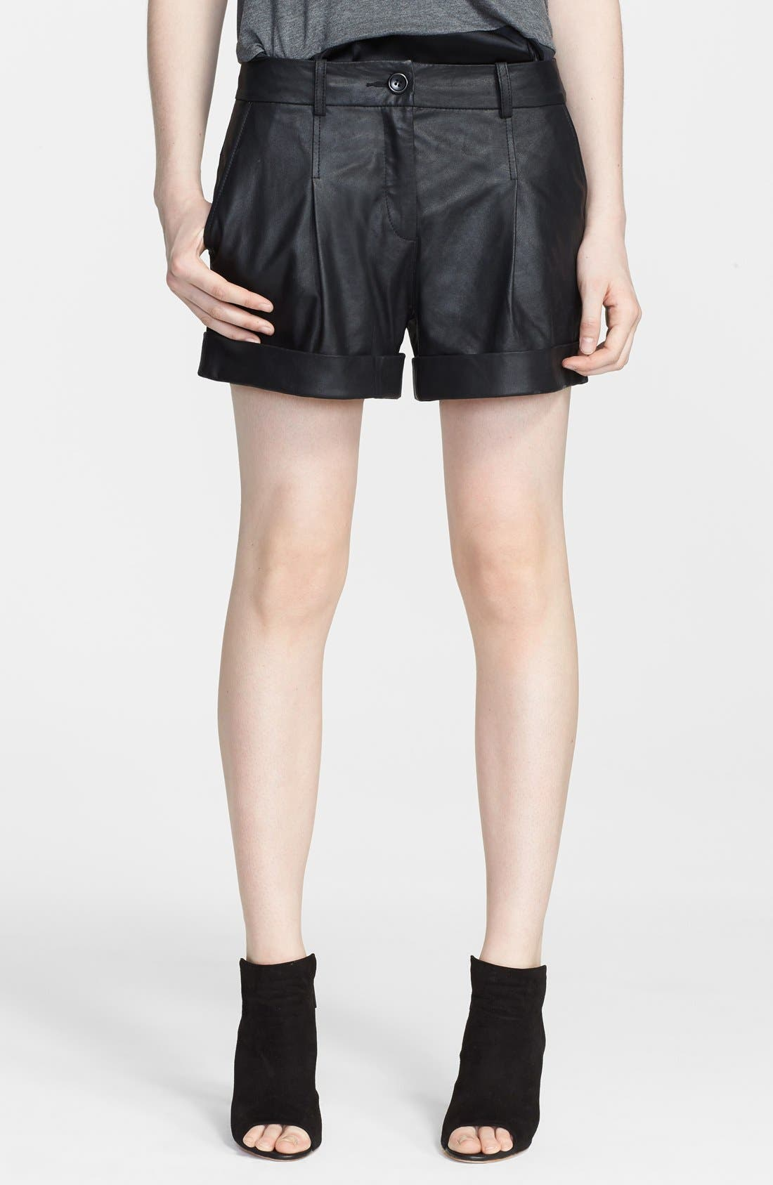 Leather Moto Shorts, Main, color, 001