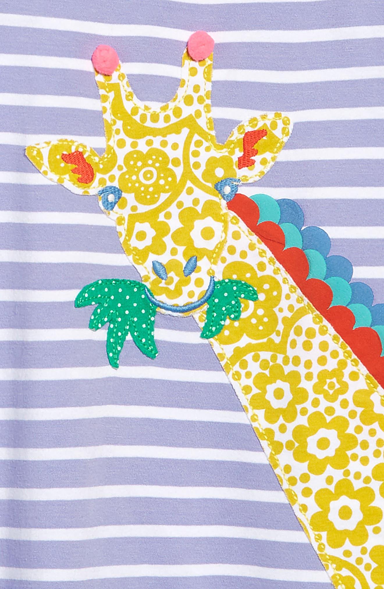 ,                             Safari Friend Appliqué Dress,                             Alternate thumbnail 3, color,                             PARMA VIOLET STRIPE/ GIRAFFE
