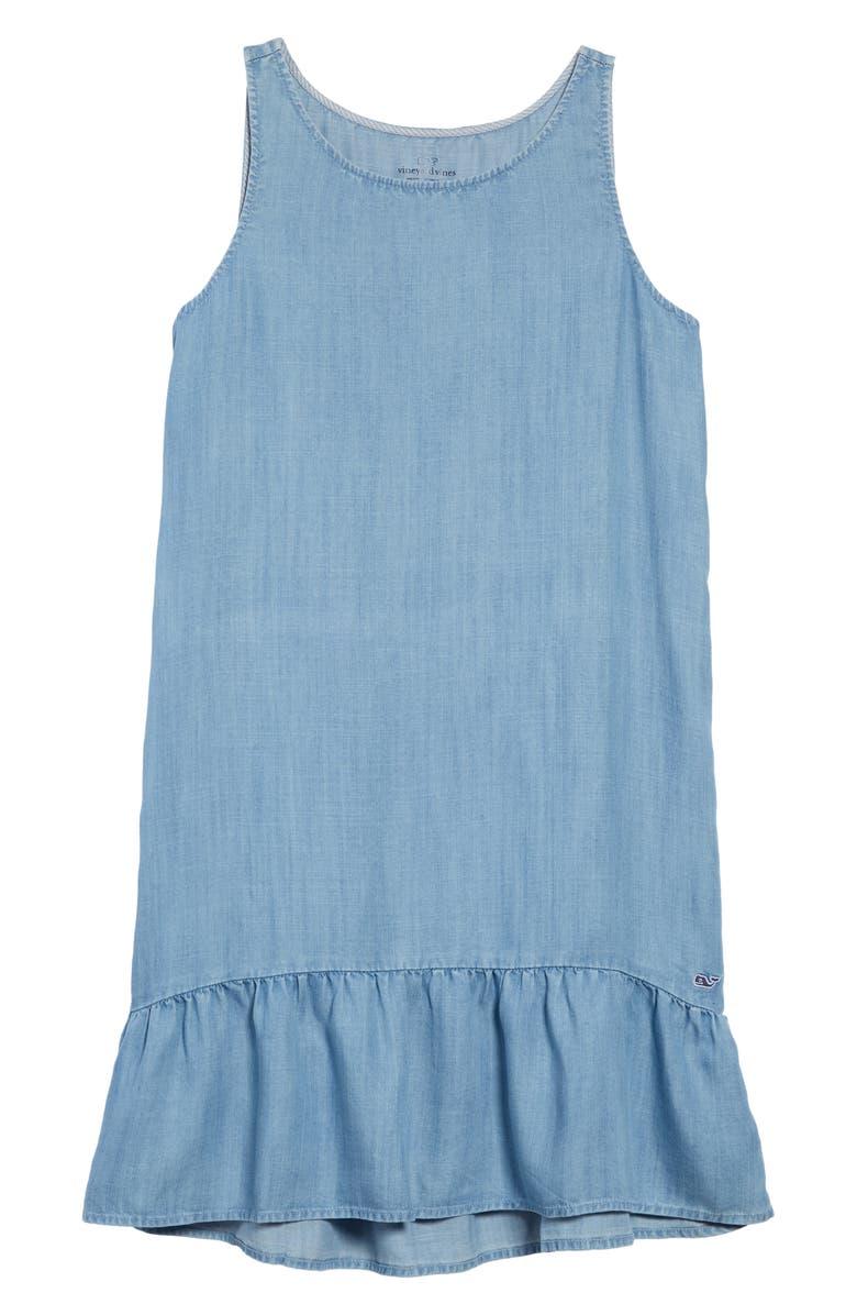 VINEYARD VINES Chambray Drop Hem Dress, Main, color, JAKE BLUE
