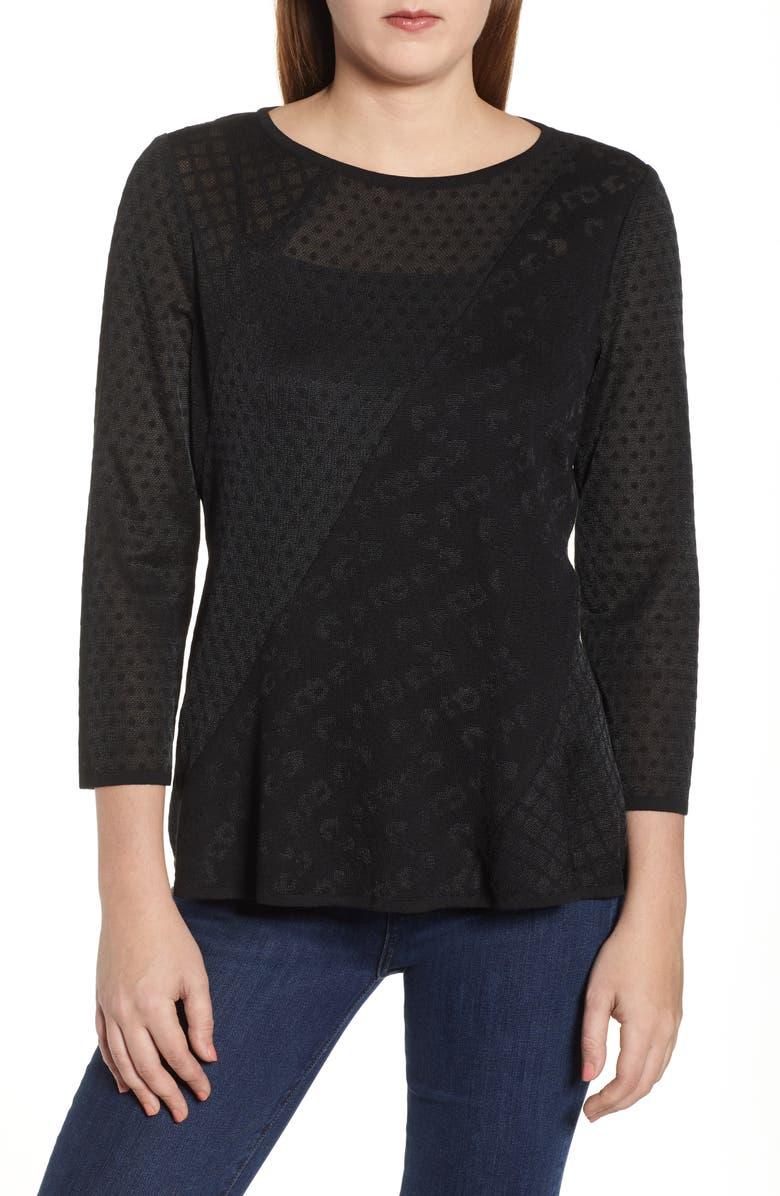 MING WANG Mixed Jacquard Top, Main, color, BLACK