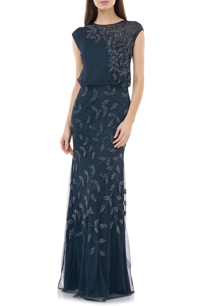 JS COLLECTIONS Beaded Leaf Chiffon Trumpet Gown, Main, color, NAVY