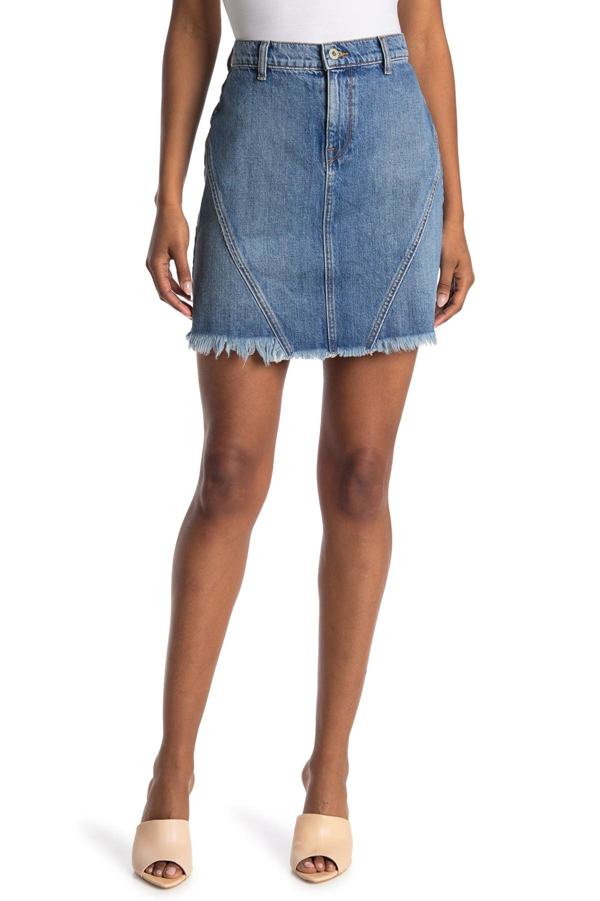 Image of BALDWIN Agnes Frayed Hem Denim Skirt