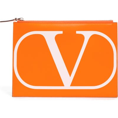 Valentino Garavani Medium Vlogo Flat Leather Pouch - Orange
