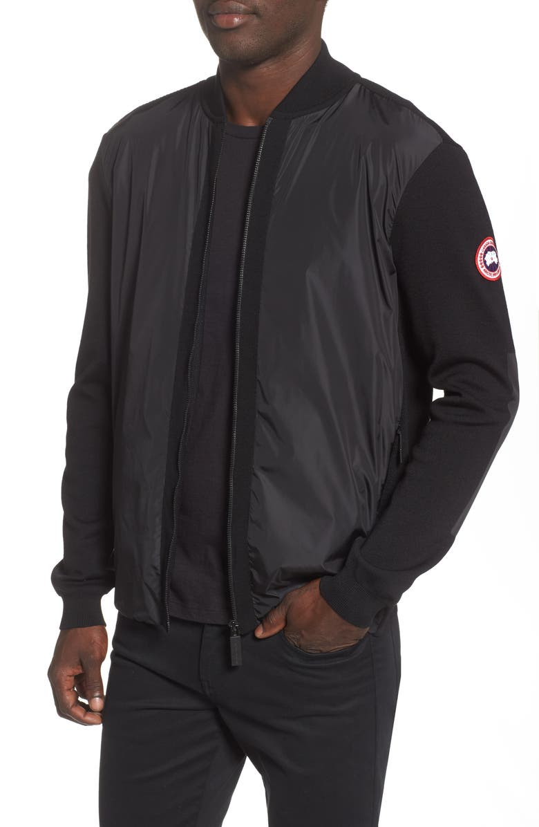 CANADA GOOSE Windbridge Regular Fit Sweater Jacket, Main, color, BLACK