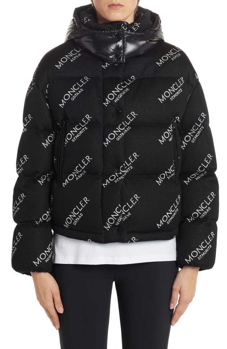 MONCLER Caille Logo Jacquard Quilted Jacket, Main, color, BLACK