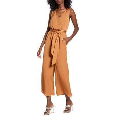 All In Favor Surplice Neck Hammered Satin Jumpsuit, Beige