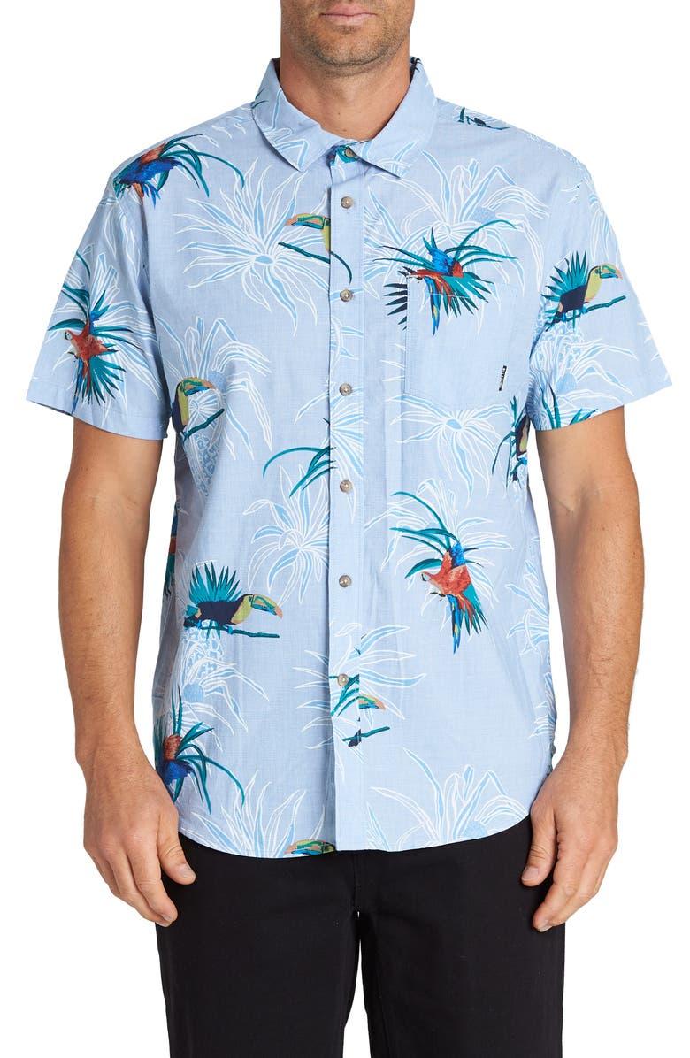 BILLABONG Sundays Floral Short Sleeve Button-Up Shirt, Main, color, LIGHT BLUE