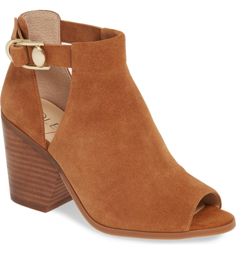 SOLE SOCIETY Caprica Open Toe Bootie, Main, color, MACAROON SUEDE