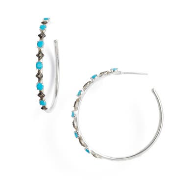 Armenta New World Diamond & Turquoise Doublet Hoop Earrings