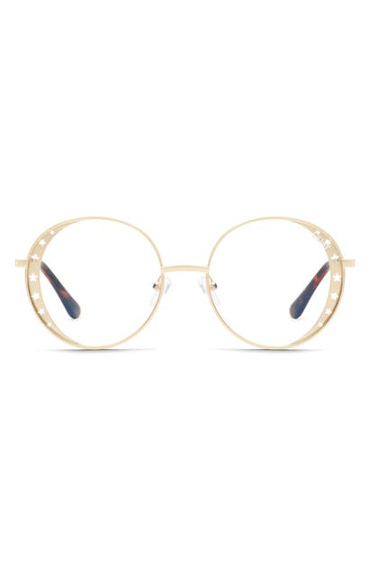 Quay X Lizzo Seeing Stars 54mm Round Sunglasses In Gold/ Clear Blue Light