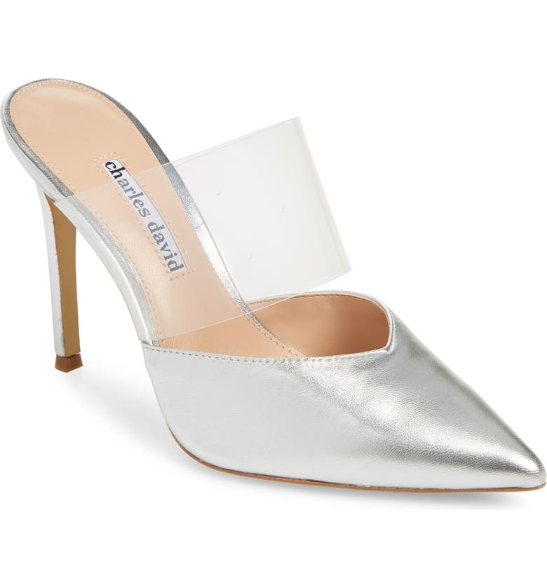 CHARLES DAVID Cammy Mule, Main, color, SILVER/ CLEAR LEATHER