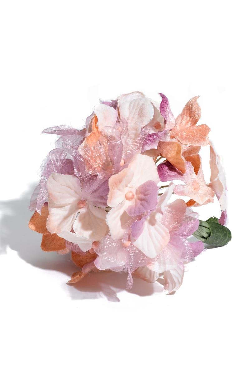 US ANGELS Faux Hydrangea Corsage, Main, color, LILAC