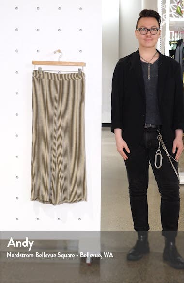 Stripe Knit Wide Leg Crop Pants, sales video thumbnail