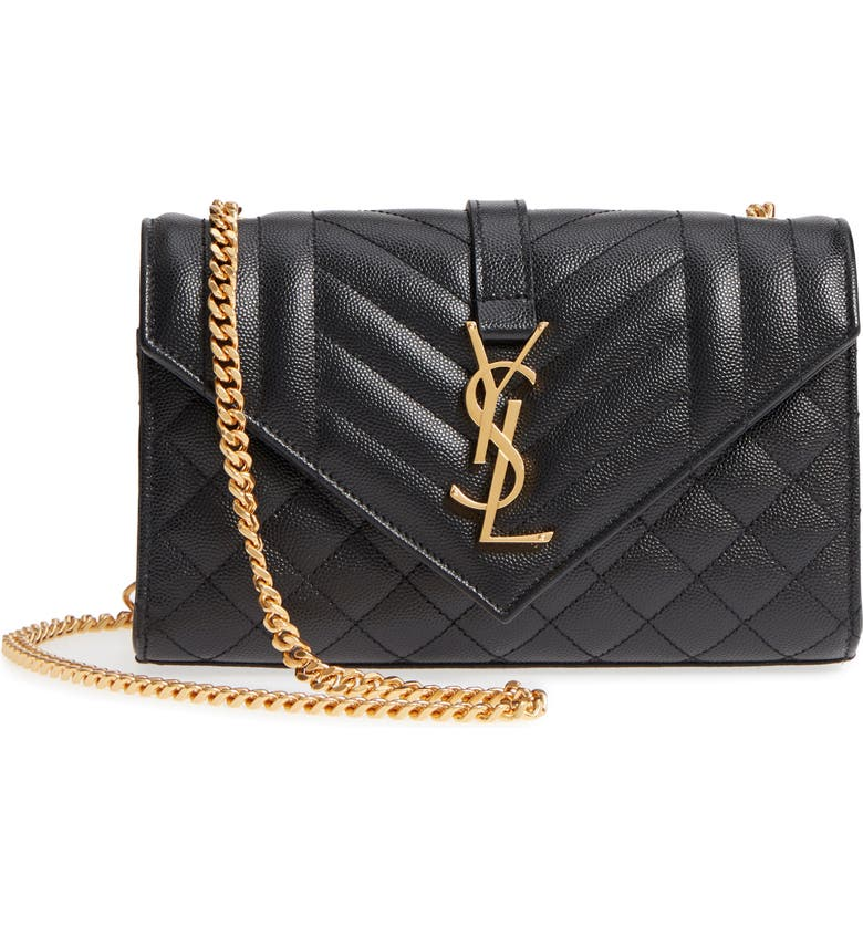 SAINT LAURENT Small Envelope Leather Shoulder Bag, Main, color, NERO/ NERO/ NERO
