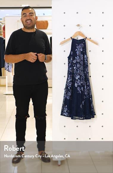 Floral Sequin Lace Skater Dress, sales video thumbnail