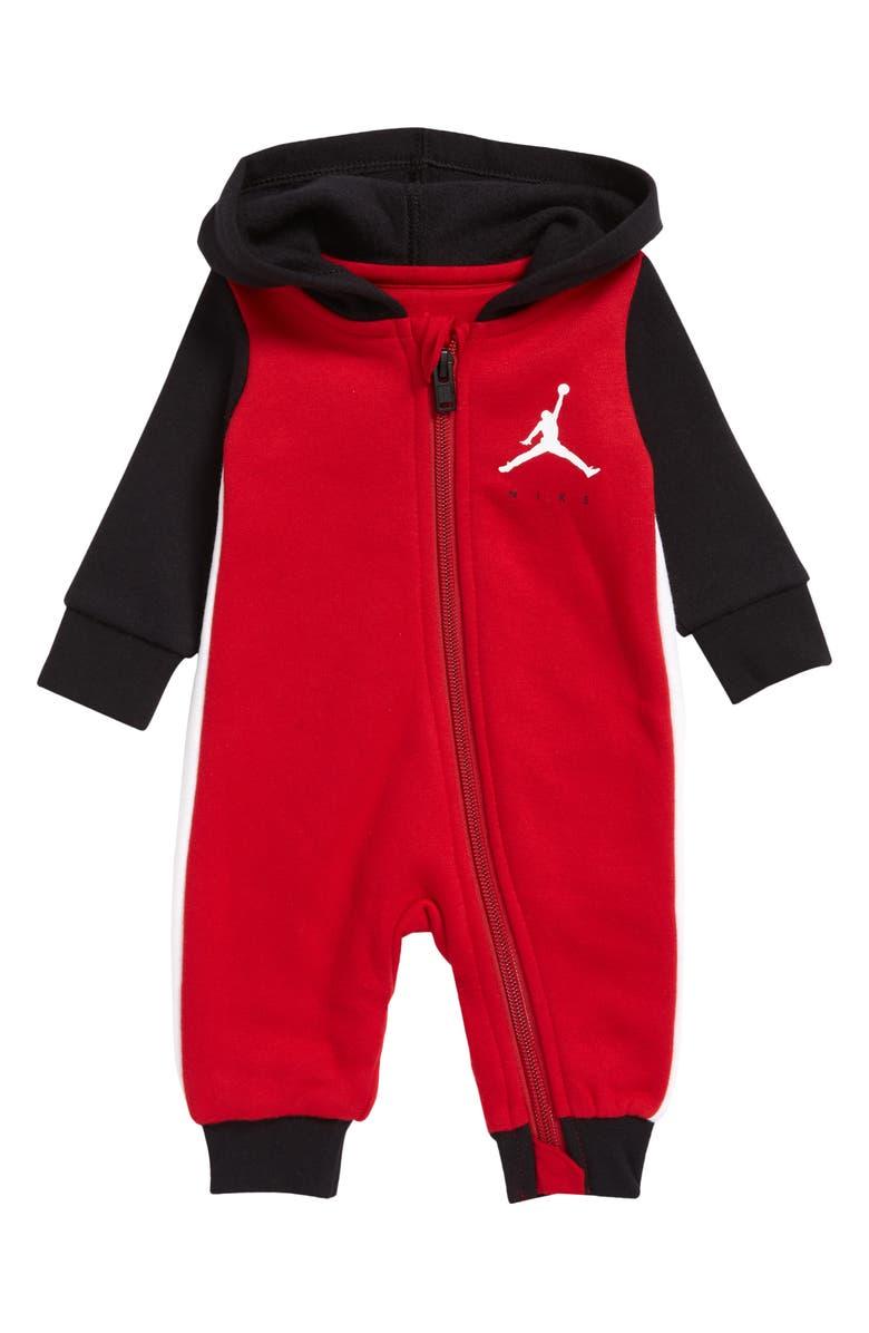 JORDAN Jumpman Colorblock Hooded Romper, Main, color, BLACKBERRY