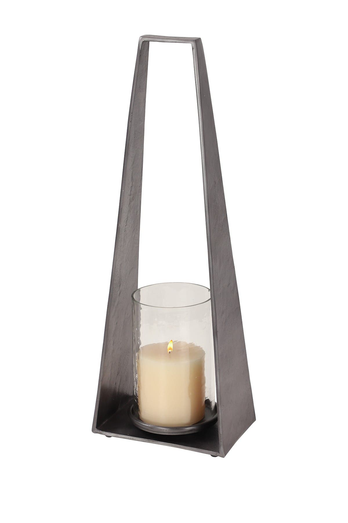 """Image of Willow Row Large Modern Triangular Silver Metal Candle Holder with Hurricane Glass - 8.5""""x 23.5"""
