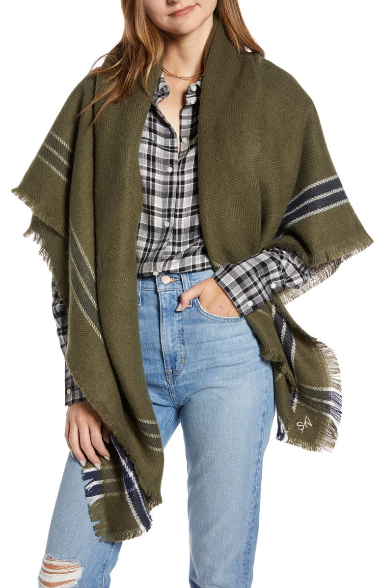 SOMETHING NAVY Blanket Wrap, Main, color, OLIVE SARMA COMBO