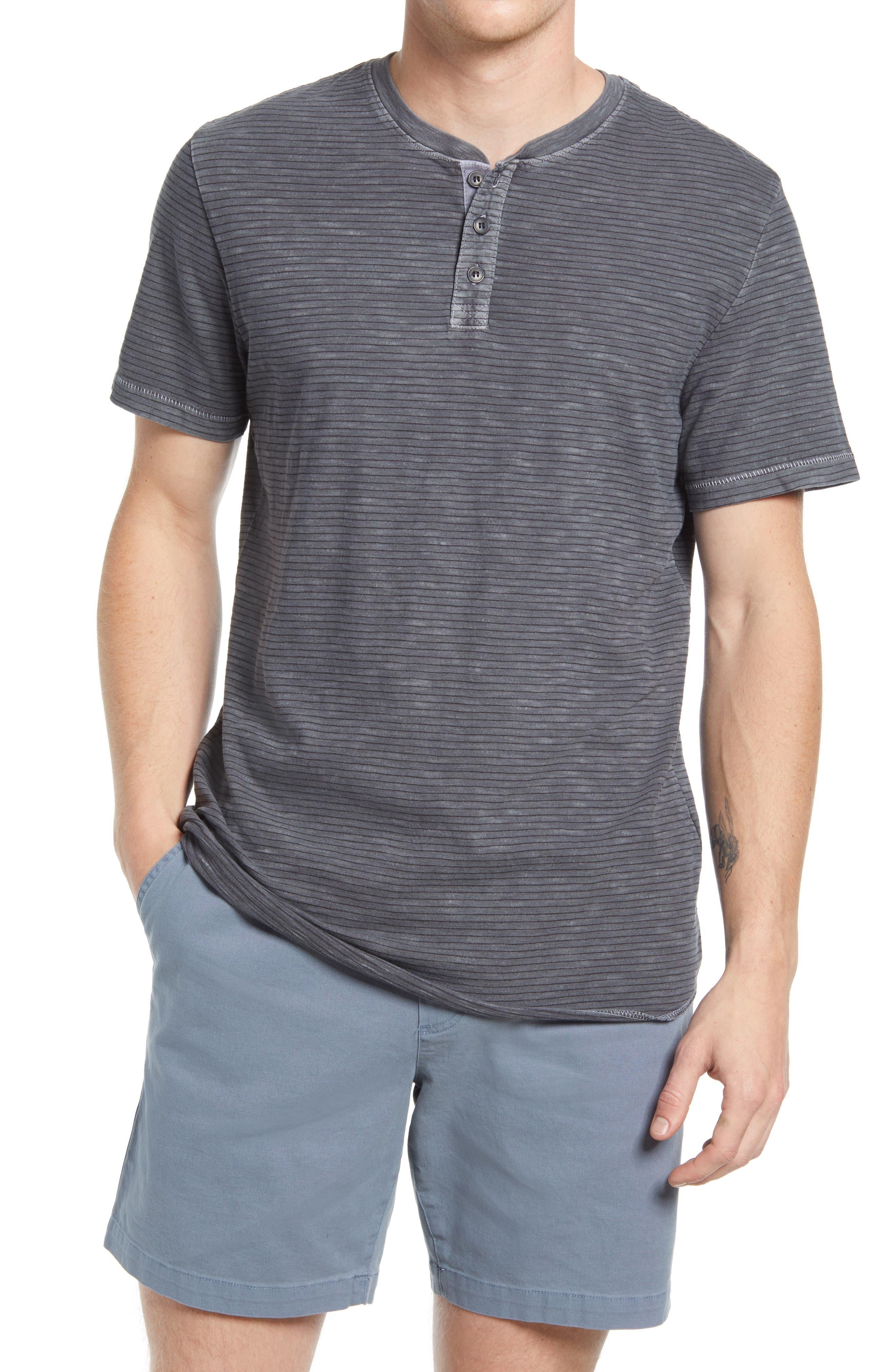 Stripe Short Sleeve Henley