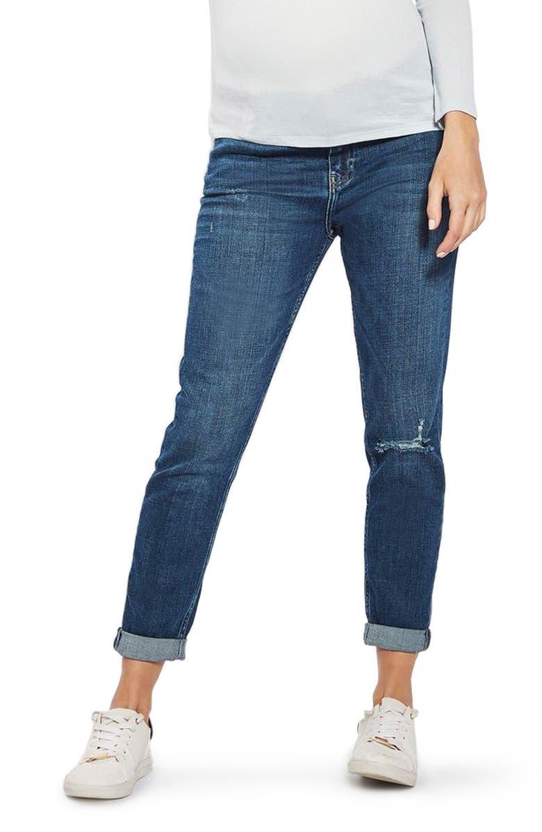 TOPSHOP Lucas Rip Maternity Boyfriend Jeans, Main, color, 400