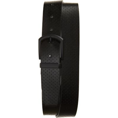 Cuater By Travis Matthew Slated Leather Belt, Black/ Light Grey