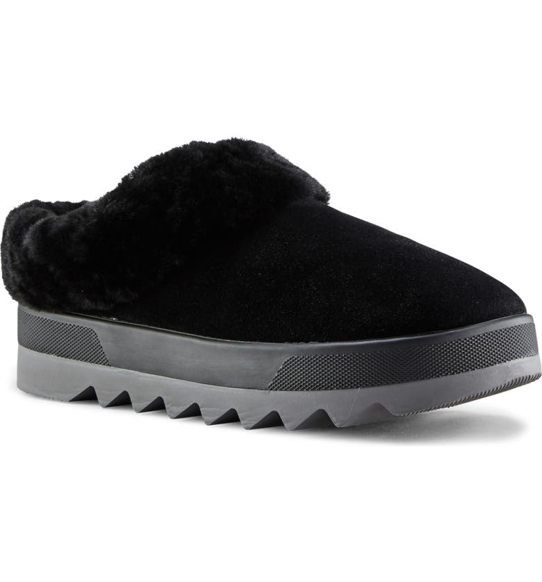 COUGAR Pronya Genuine Shearling Slide, Main, color, BLACK SUEDE