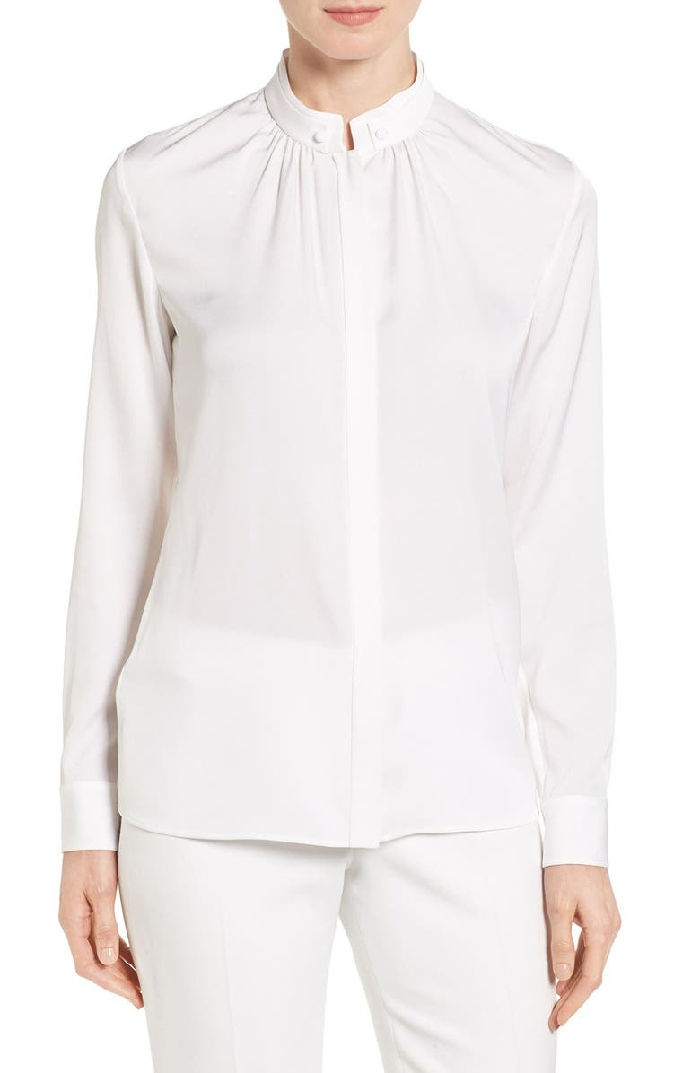 BOSS 'Blusil' Stretch Silk Blouse, Main, color, 659