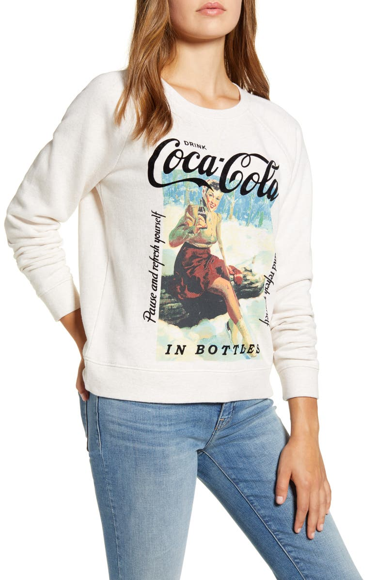 LUCKY BRAND Coca-Cola<sup>®</sup> Crewneck Cotton Sweatshirt, Main, color, OATMEAL HEATHER