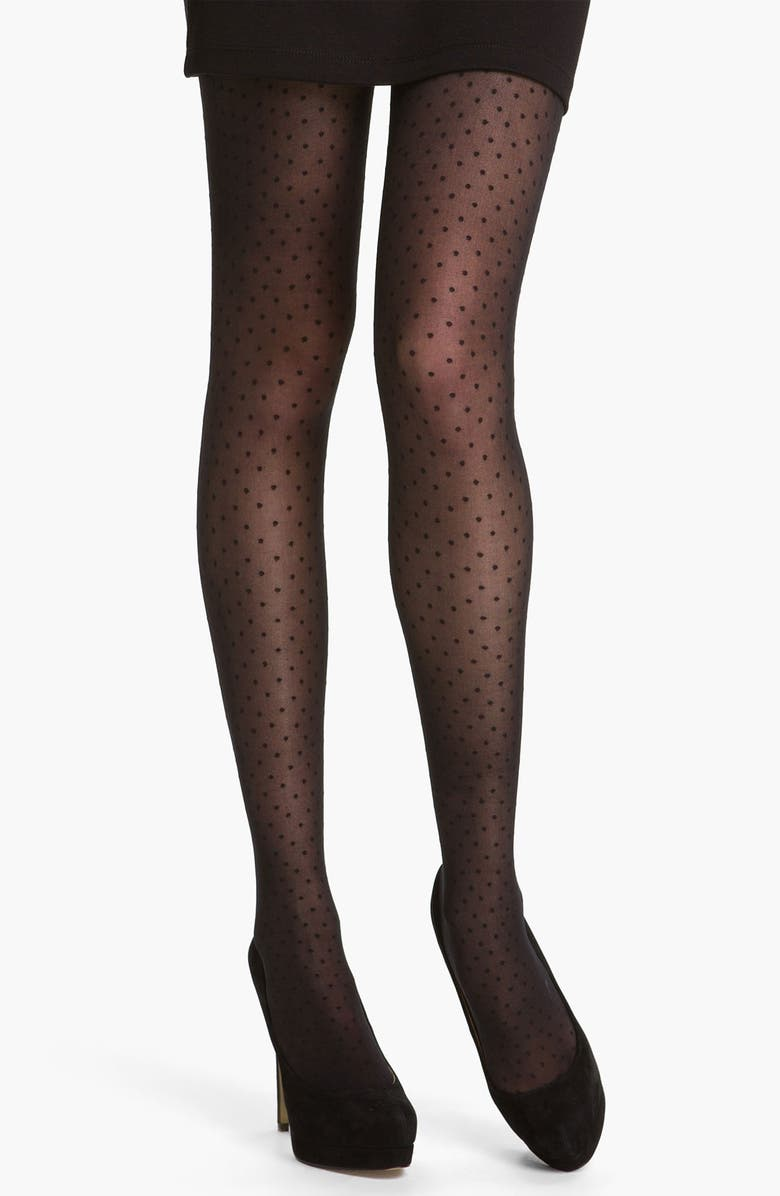 DKNY Dotted Tights, Main, color, 002
