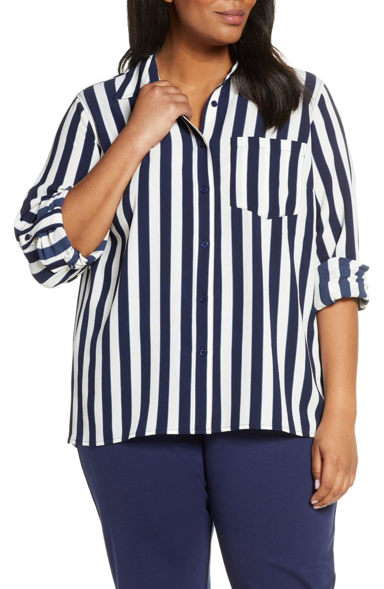 MICHAEL MICHAEL KORS Stripe Oversize Button Front Shirt, Main, color, 425