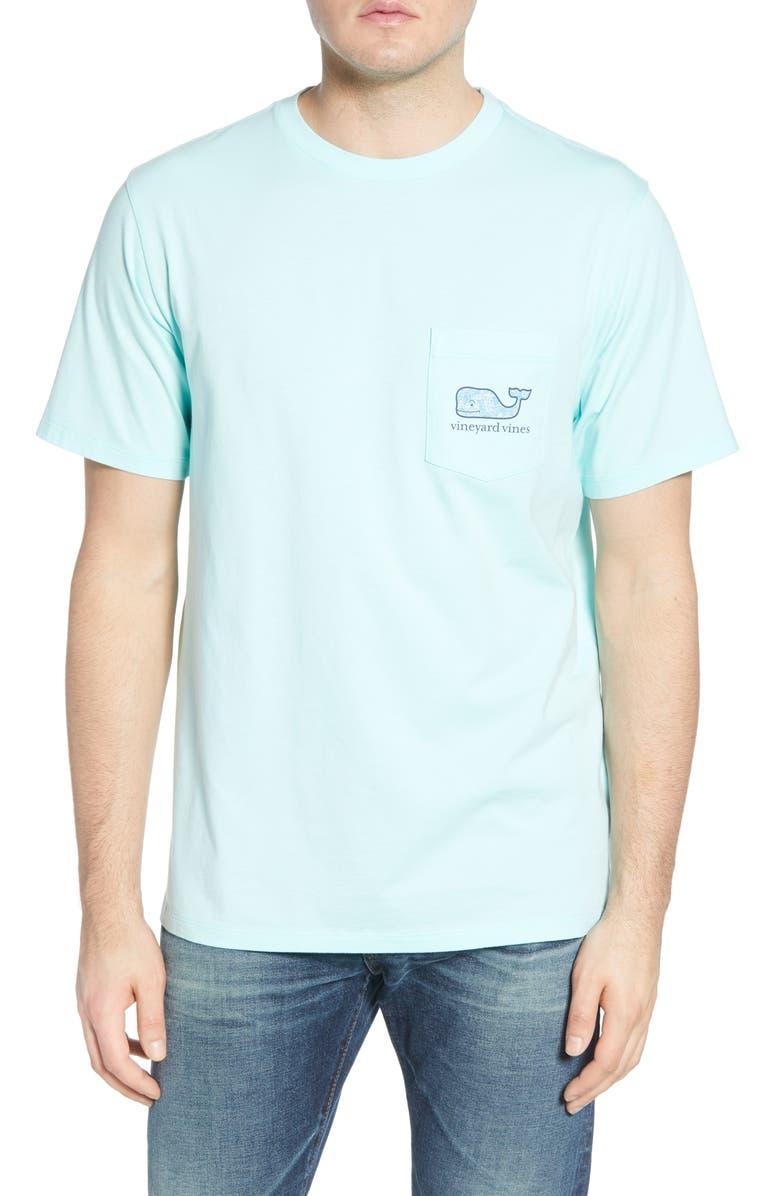 VINEYARD VINES Pelicans Whale Fill Graphic Pocket T-Shirt, Main, color, BLUE MIST