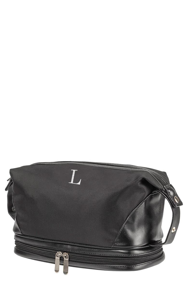 CATHY'S CONCEPTS Monogram Toiletry Bag, Main, color, BLACK L