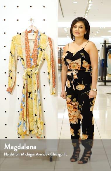 Reflection Floral Stripe Silk Wrap Dress, sales video thumbnail