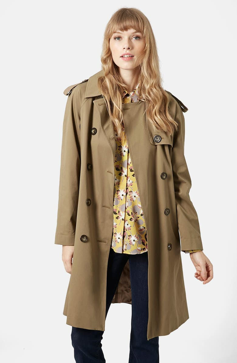 TOPSHOP 'Scout' Double Breasted Trench Coat, Main, color, 200
