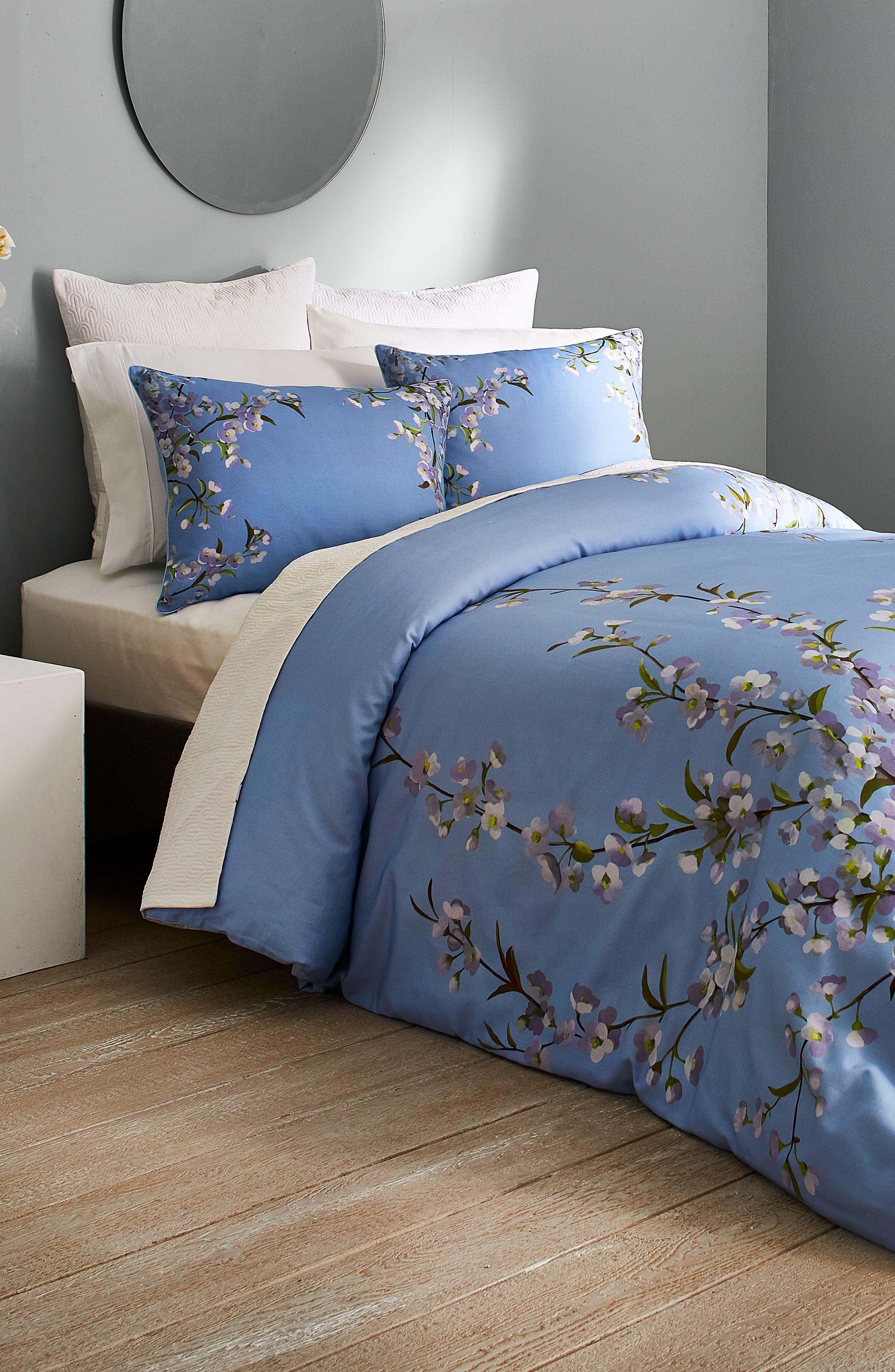 ,                             Graceful Comforter & Sham Set,                             Alternate thumbnail 4, color,                             BLUE