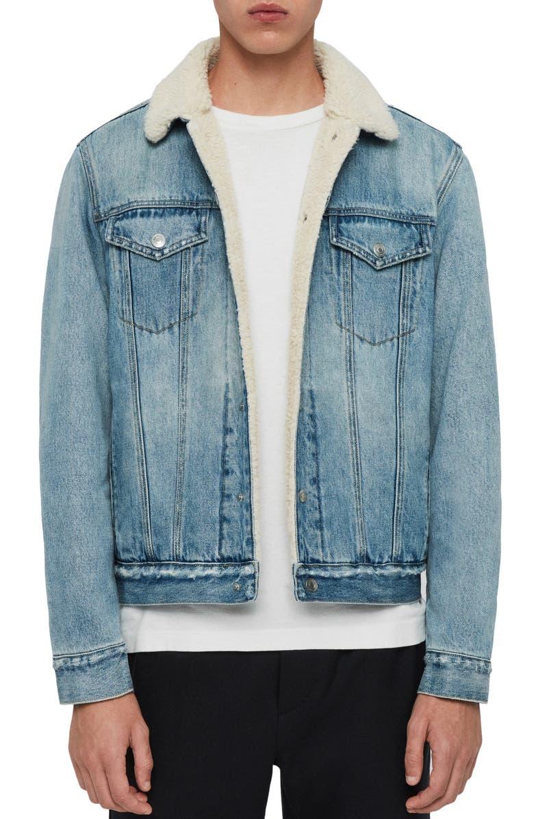ALLSAINTS Ilkley Fleece Lined Denim Jacket, Main, color, 460