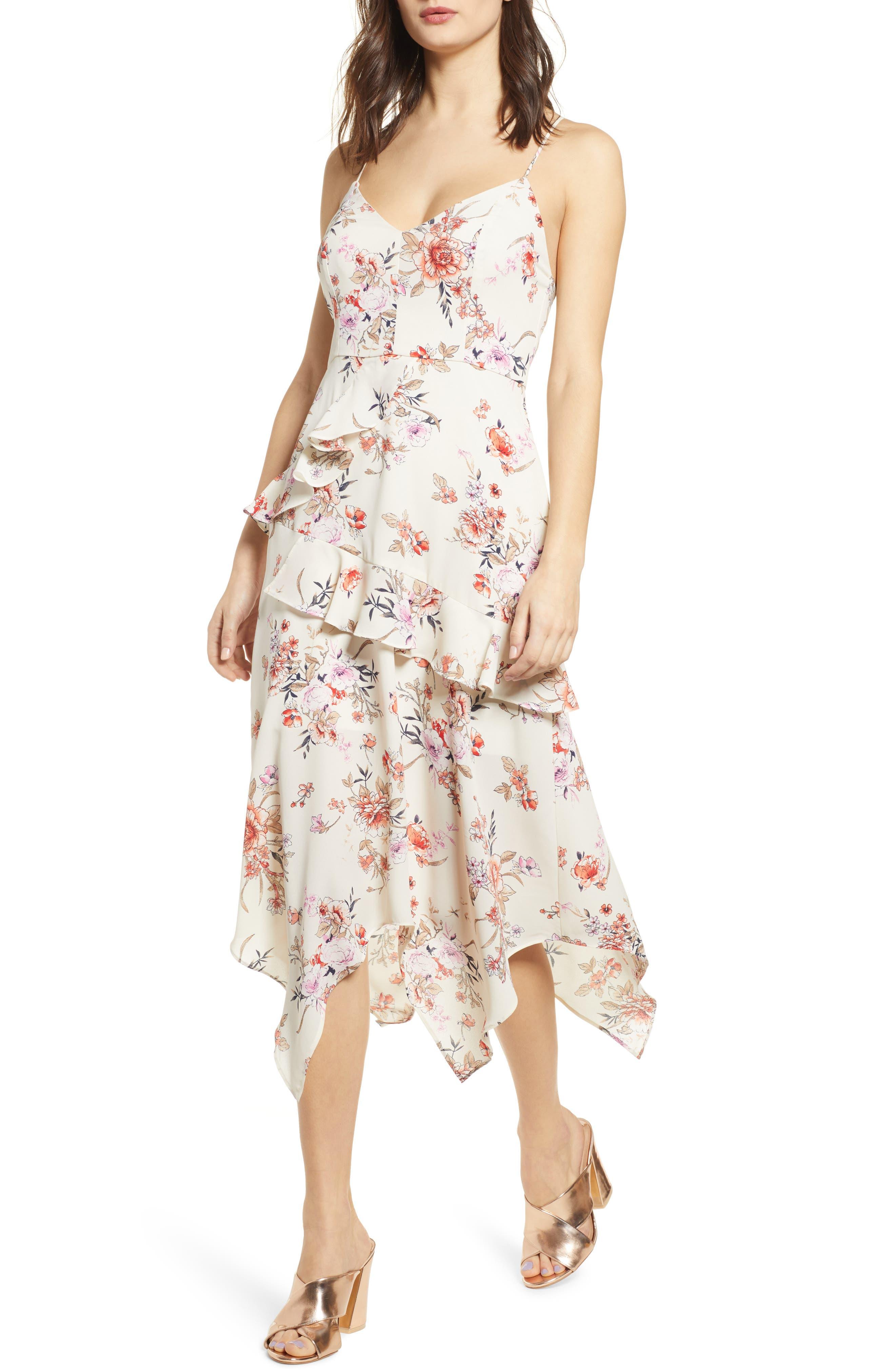Row A Side Ruffle Maxi Dress, Ivory